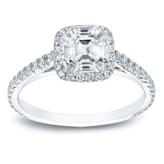 Auriya Platinum 1 1/2ct TDW Certified Asscher Cut Diamond Halo Engagement Ring