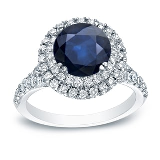 Auriya Platinum 1ct Blue Sapphire and 3/5ct TDW Round Cut Diamond Halo Engagement Ring (H-I, SI1-SI2)
