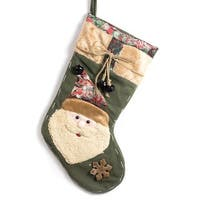 Classic Christmas Stocking Polyester 19-inch Embroidered Santa Clause Stocking with Jingle Bells