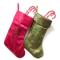 Red and Green 19-inch Embroidered Christmas Stockings (Set of 2)