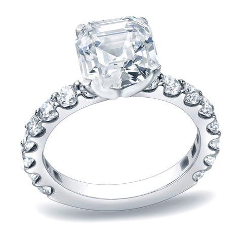 Auriya 1 3/4 carat TW Asscher Diamond Engagement Ring Platinum Certified