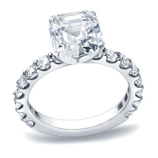 Auriya Platinum 1 3/4ct TDW Certified Asscher Cut Diamond Engagement Ring