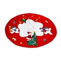 Santa Claus and Snowman Xmas Red Polyester 36-inch Christmas Tree Skirt