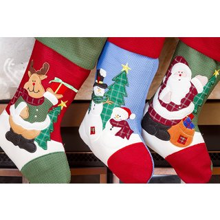 Santa Claus Friends 18-inch Christmas/Xmas Stockings (3 Pack)