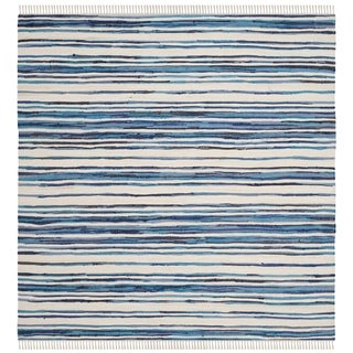 Safavieh Hand-Woven Rag Cotton Rug Ivory/ Blue Cotton Rug (6' Square)
