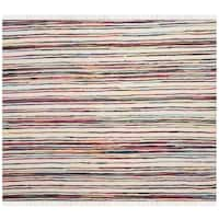 Safavieh Hand-Woven Rag Cotton Rug Ivory/ Multicolored Cotton Rug - 6' Square