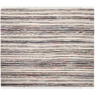 Safavieh Hand-Woven Rag Cotton Rug Ivory/ Charcoal Cotton Rug (6' Square)