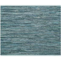 Safavieh Hand-Woven Rag Cotton Rug Turquoise/ Multicolored Cotton Rug - 6' Square