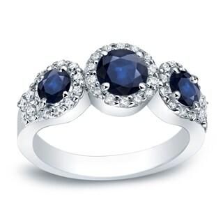 Auriya Platinum 4/5ct Blue Sapphire and 2/5ct TDW Three-Stone Round Cut Diamond Engagement Ring (G-H, I1-I2)
