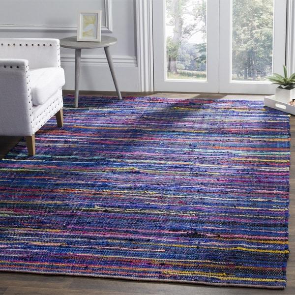 Safavieh Rag Cotton Rug Bohemian Handmade Blue/ Multi Cotton Rug - 6' Square