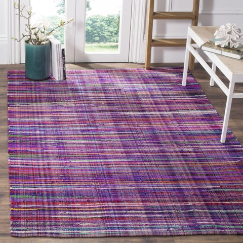 Safavieh Rag Cotton Rug Bohemian Handmade Purple/ Multi Cotton Rug - 6' x 6' Square