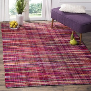 Safavieh Rag Cotton Rug Bohemian Handmade Red/ Multi Cotton Rug (6' Square)
