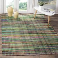 Safavieh Rag Cotton Rug Bohemian Handmade Green/ Multi Cotton Rug - 6' Square