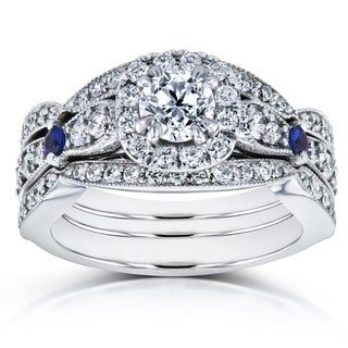 Annello by Kobelli 14k White Gold Sapphire and 1 1/4ct TDW Diamond Antique 3 Ring Bridal Set (H-I, I1-I2)