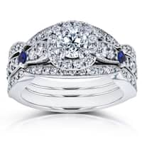 Annello by Kobelli 14k White Gold Sapphire and 1 1/4ct TDW Diamond Antique 3 Ring Bridal Set