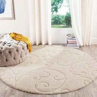 Safavieh Florida Ultimate Shag Ultimate Scrolling Vines Cream Shag Rug (4' Round)