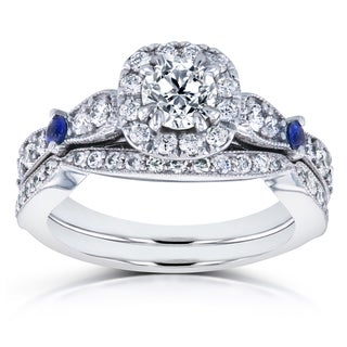 Annello by Kobelli 14k White Gold Sapphire and 1 1/10ct TDW Diamond Antique 2 Ring Bridal Set