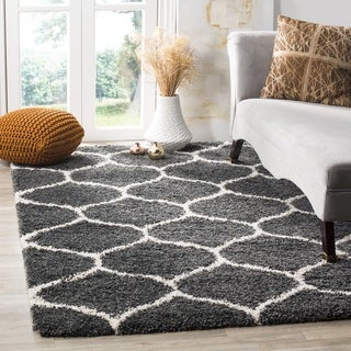 Safavieh Hudson Shag Modern Ogee Dark Grey/ Ivory Rug (7' Square)