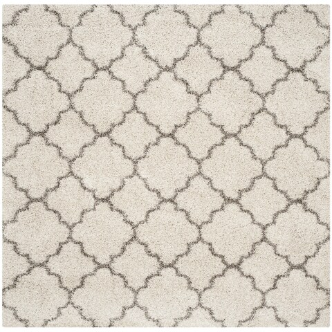Safavieh Hudson Quatrefoil Shag Ivory/ Grey Rug - 8' x 8' Square - 8' x 8' Square