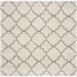 Safavieh Hudson Quatrefoil Shag Ivory/ Grey Rug (8' Square)