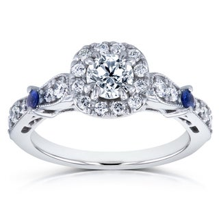 Annello By Kobelli 14k White Gold Sapphire And 7 8ct TDW Diamond Antique Ring