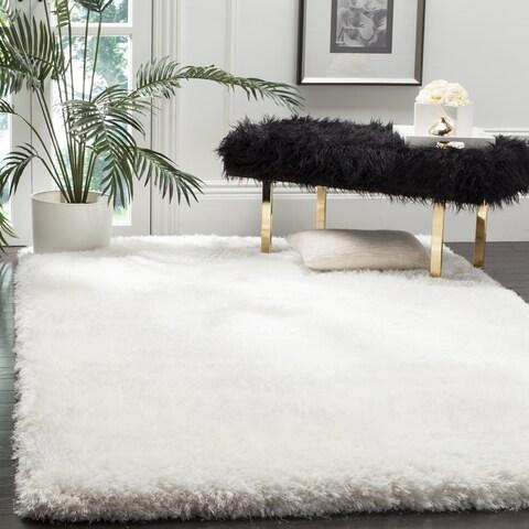 Safavieh Handmade Luxe Shag Super Plush Ivory Polyester Rug - 6' x 6' Square