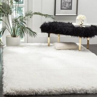 Safavieh Handmade Luxe Shag Super Plush Ivory Polyester Rug - 6' Square