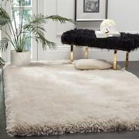 Safavieh Handmade Luxe Shag Super Plush Bone Polyester Rug - 6' Square