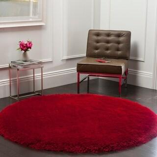 Safavieh Handmade Luxe Shag Super Plush Red Polyester Rug (6' Round)