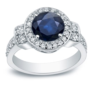 Auriya Platinum 2ct Blue Sapphire and 3/4ct TDW Round Cut Diamond Halo Engagement Ring (H-I, SI2-I1)