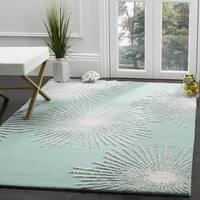 Safavieh Soho Handmade Contemporary Burst Light Teal/ Multi Wool Rug - 6' Square