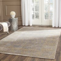 Safavieh Valencia Grey/ Gold Distressed Silky Polyester Rug - 6' 7 Square