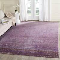 Safavieh Valencia Lavender/ Multi Overdyed Distressed Silky Polyester Rug - 6' 7 Square