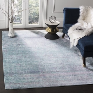 Safavieh Valencia Turquoise/ Multi Overdyed Distressed Silky Polyester Rug (6' 7 Square)