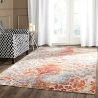 Safavieh Valencia Multi Abstract Distressed Silky Polyester Rug - 6' 7 Square