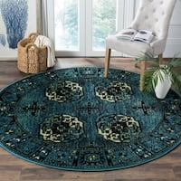 "Safavieh Vintage Hamadan Traditional Blue/ Multicolored Rug - 6'7"" x 6'7"" round"