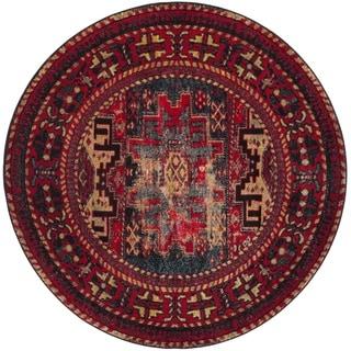 Safavieh Vintage Hamadan Traditional Red/ Multicolored Distressed Rug (7' Round)