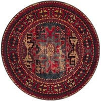 "Safavieh Vintage Hamadan Traditional Red/ Multicolored Distressed Rug - 6'7"" x 6'7"" round"