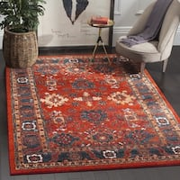 Safavieh Vintage Hamadan Traditional Orange/ Blue Distressed Rug (7' Square)