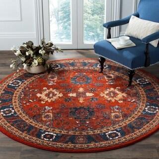 Safavieh Vintage Hamadan Traditional Orange/ Blue Distressed Rug (7' Round)