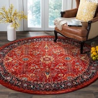 "Safavieh Vintage Hamadan Traditional Orange/ Navy Distressed Rug - 6'7"" x 6'7"" Round"