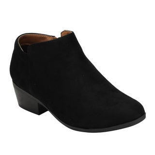 Women's Bella Marie AE47 Faux Suede Zipper Stacked Block-heel Ankle Booties