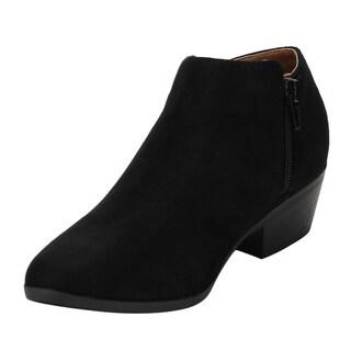 Women's Bella Marie AE47 Faux Suede Zipper Stacked Block-heel Ankle Booties