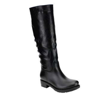 Bella Marie AE72 Women's Back Lace-up Block-heel Knee-high Rain Weather Boots
