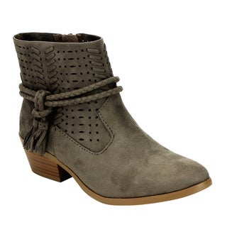 Soda Women's FF49 Taupe Faux-suede Tassels Braided Straps Stacked Block-heel Ankle Booties