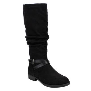 Soda FF24 Women's Slouchy Crisscross Buckle Straps Mid-calf Riding Boots