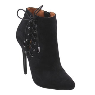 X2B Women's GF88 Almond Toe Lace Up Deco Stiletto Ankle Booties