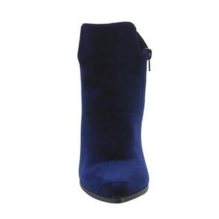 X2B Women's GF85 Almond Toe Side Zipper Block Middle Heel Ankle Booties