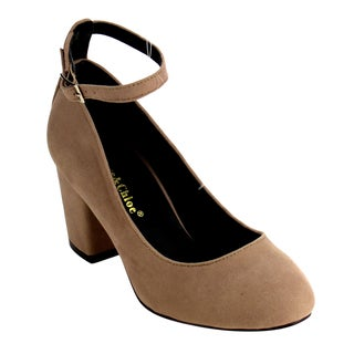 Chase Chloe Women's EE82 Block Heel Ankle Strap Dress Pump Shoes