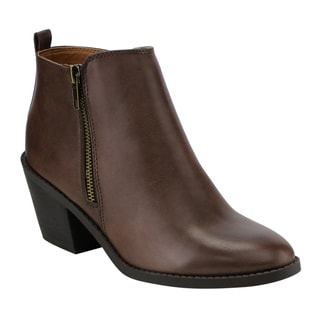 Women's Soda FF32 Brown Faux-leather Plain Ankle-high Side-zip Chunky Block-heel Booties